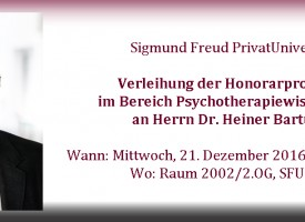 Verleihung der Honorarprofessur Psychotherapiewissenschaft an Dr. Heiner Bartuska