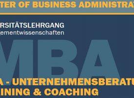 MBA Master of Business Administration | Start des neuen Universitätslehrgangs