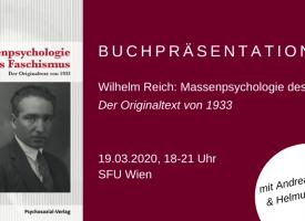 VERSCHOBEN | Buchpräsentation: Wilhelm Reich – Massenpsychologie des Faschismus