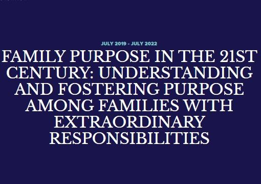 PSY | Research Project: Family Purpose in the 21st Century