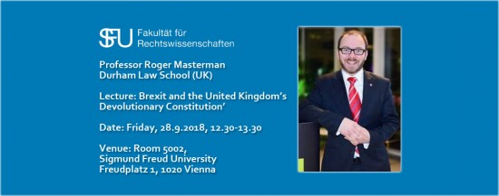 "JUS | Lecture: ""Brexit and the United Kingdom's Devolutionary Constitution"""